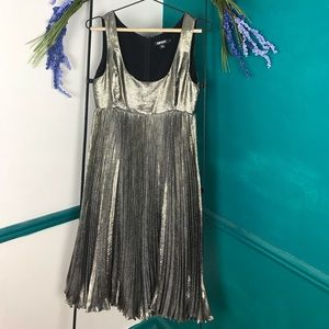 DKNY silk blend metallic pleated dress